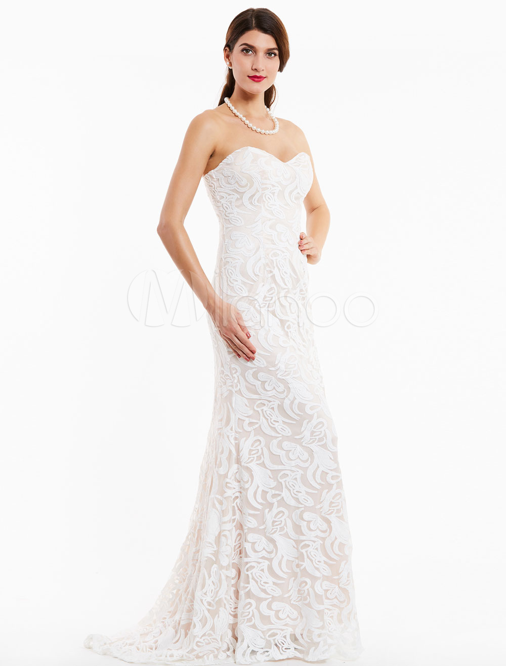 Buy Lace Evening Dresses Ivory Strapless Prom Gown Mermaid Sweetheart Neckline Formal Dress With Train for $97.89 in Milanoo store