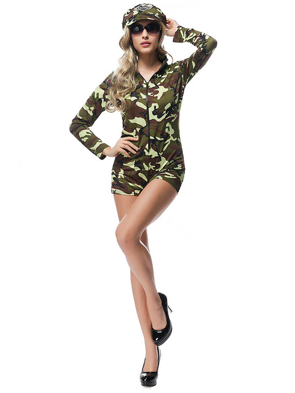 92e9b0b6a20 Halloween Army Costume Sexy Women Camo Printed Jumpsuits And Hat-No.1 ...