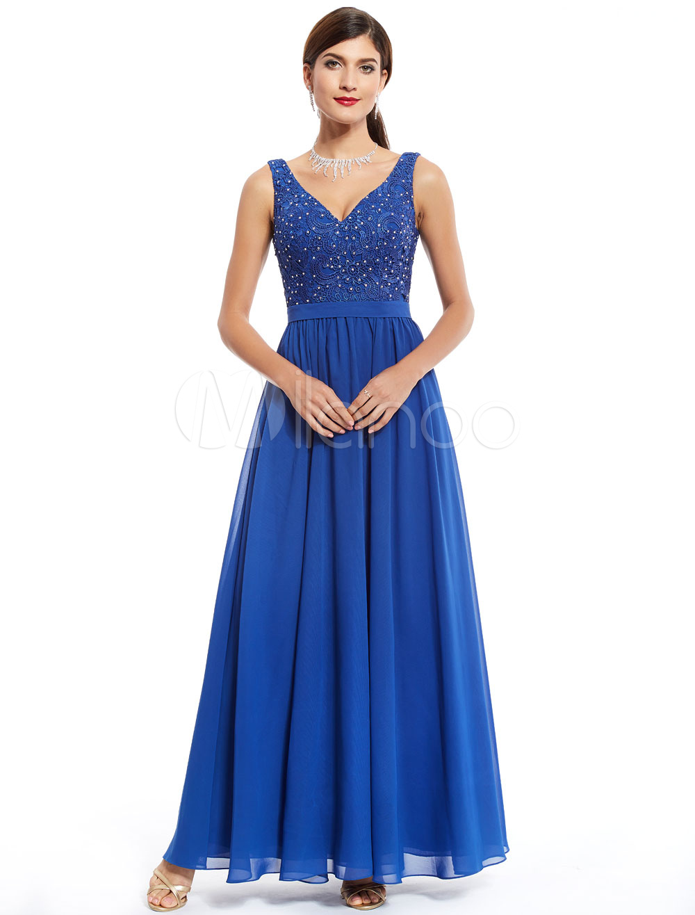 Buy Mother Dresses Royal Blue Wedding Guest Dress Lace Chiffon Beading V Neck Long Occasion Dress for $115.69 in Milanoo store
