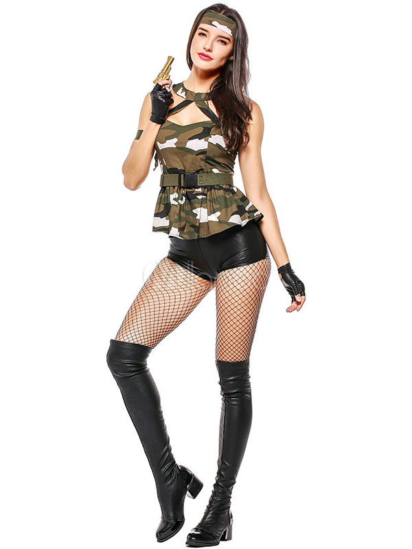 d74b8a8b598f1 Halloween Army Costume Sexy Women Camo Printed Top And Shorts Outfit 3  Pieces-No.