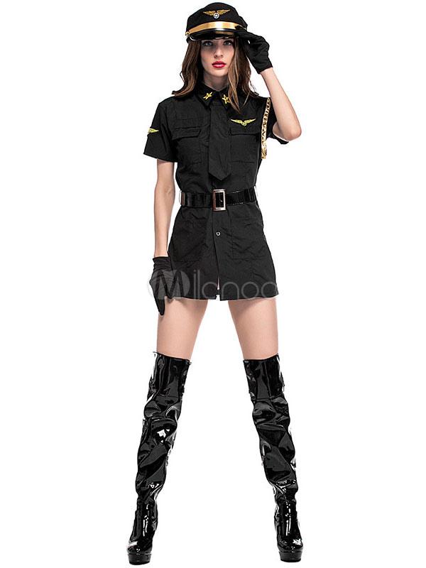 c8d3d72af32 Halloween Sexy Stewardess Costume Air Hostess Women Black Dress Outft