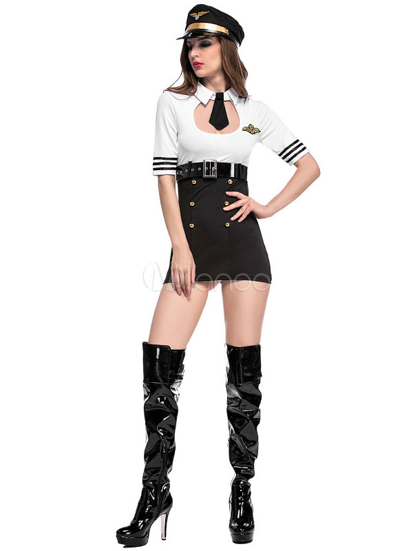 ... Sexy Stewardess Costume Halloween Air Hostess Women White Dress Outfit-No.3 ...  sc 1 st  Milanoo.com & Sexy Stewardess Costume Halloween Air Hostess Women White Dress ...