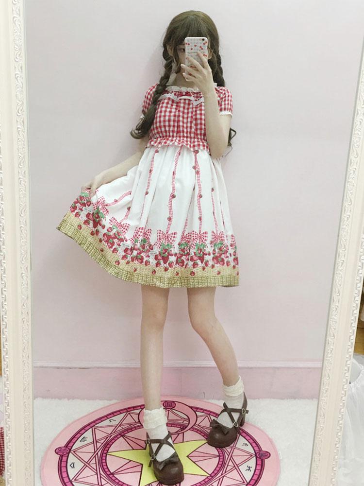 Sweet Lolita One Piece Dress Chiffon Floral Print Pleated White Lolita OP