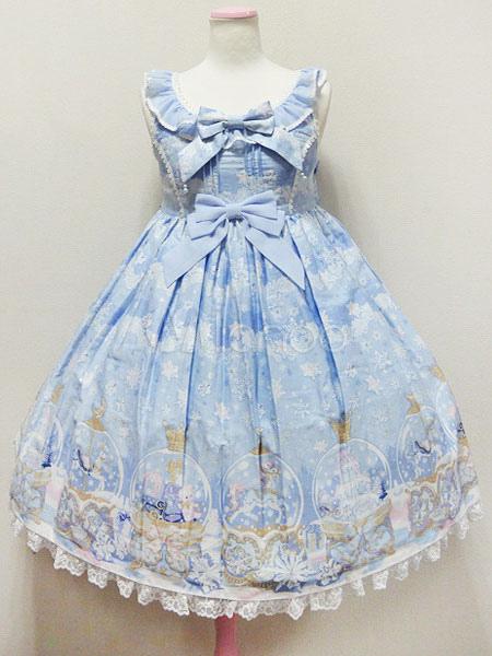 Buy Sweet Lolita Jumper Skirt Sugar Dream Dome Chiffon Print Lace Trim Bow Light Blue Lolita JSK for $51.29 in Milanoo store