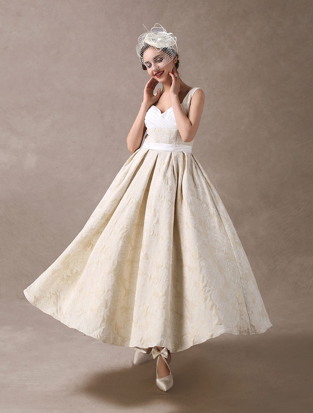 Vintage Wedding Dresses Short Champagne Bridal Dress Jacquard