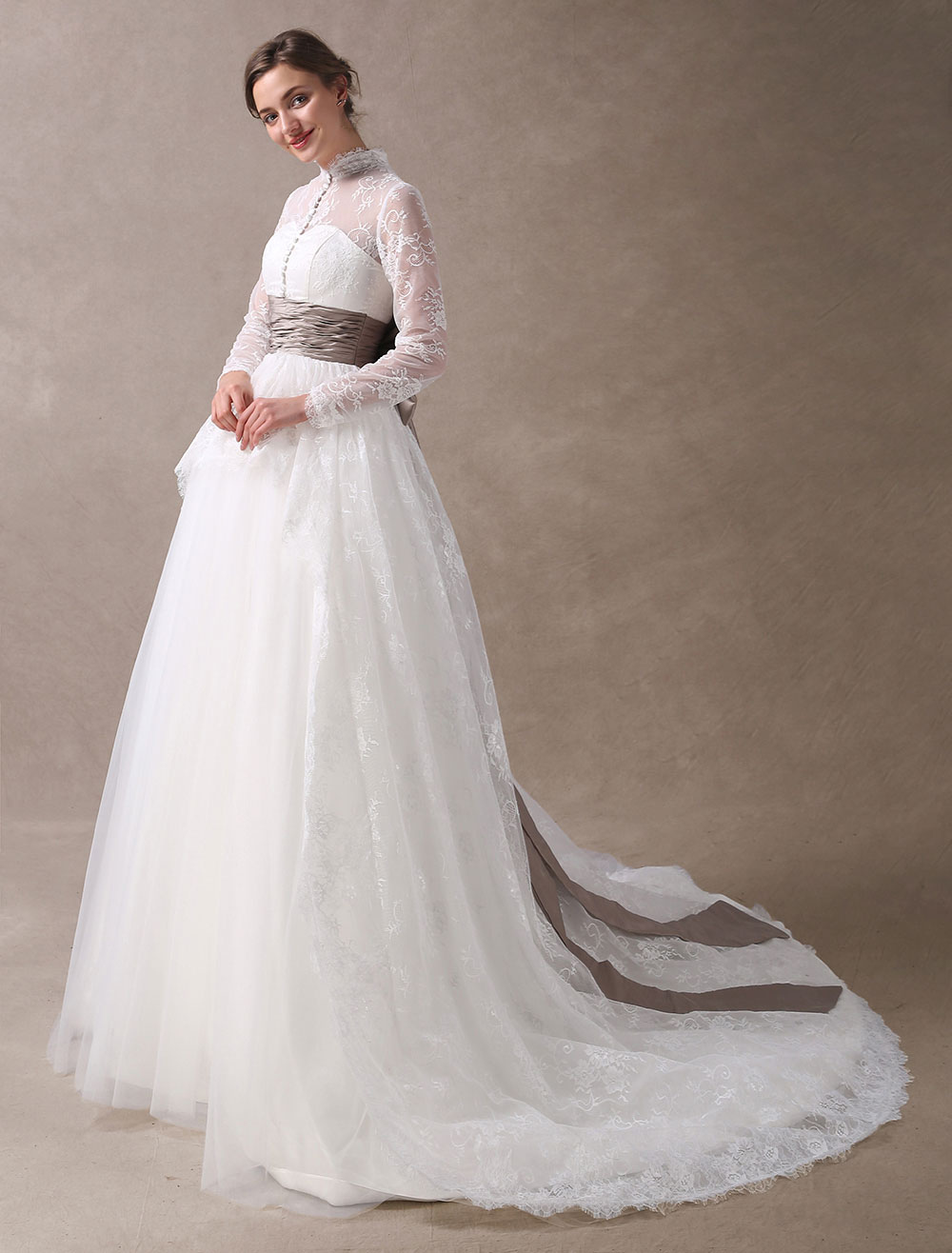 Princess Wedding Dresses Ball Gowns Lace Long Sleeve Bridal Dress High  Collar Buttons Illusion Ribbon Bow Ruched Sash Wedding Gowns With Train -  Milanoo.com