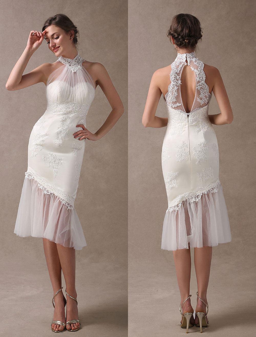 Beach Wedding Dresses Short Mermaid Bridal Dress Halter Open Back Lace Pleated Knee Length Wedding Gowns For Summer