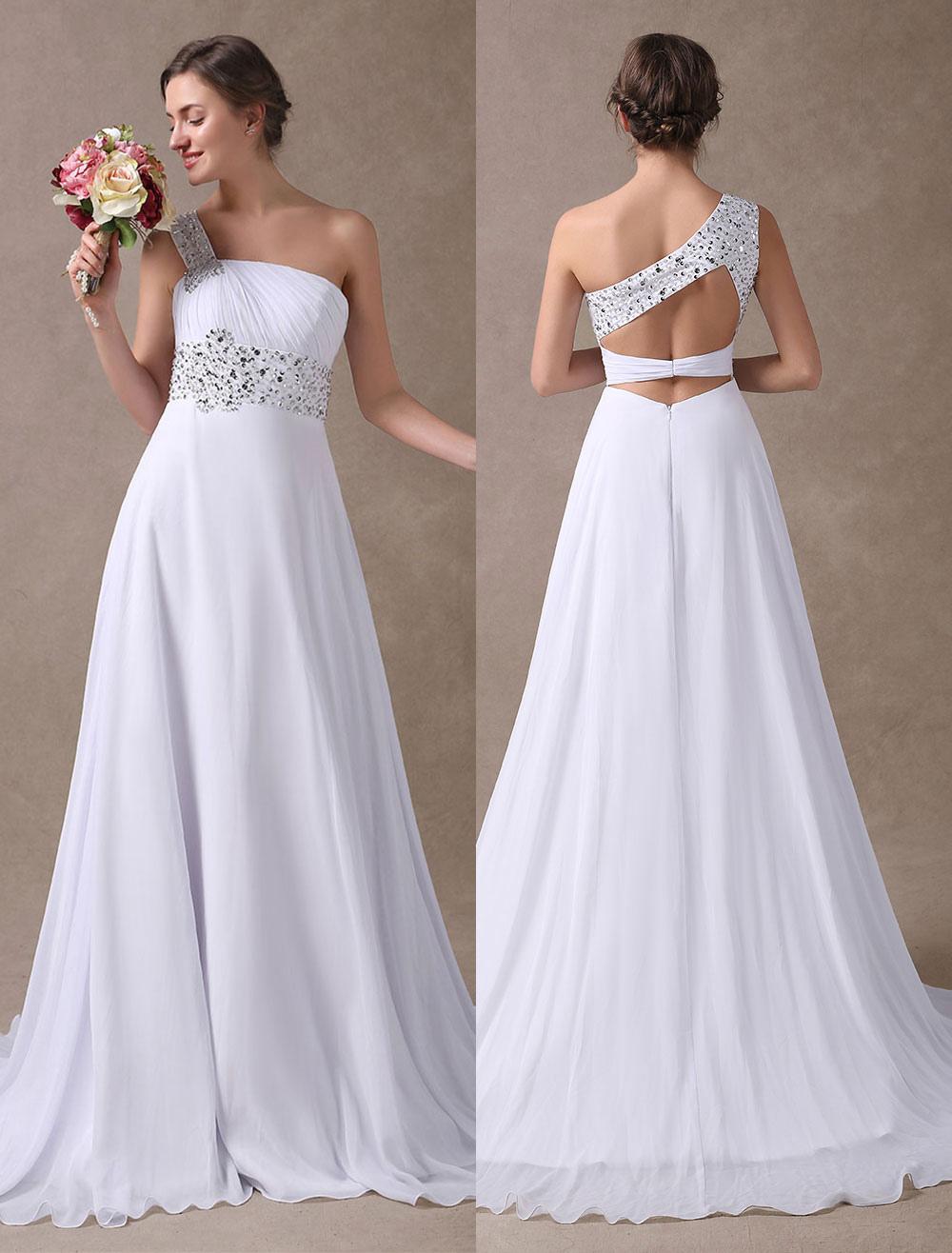 White Wedding Dresses One Shoulder Beach Bridal Dress Chiffon