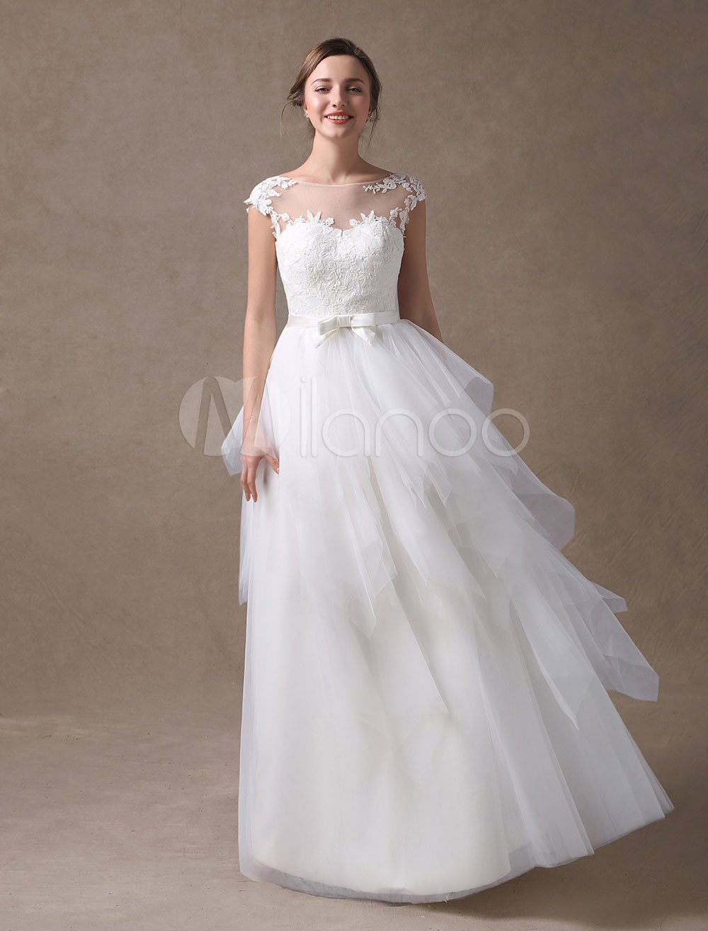 Buy Beach Wedding Dresses Ivory Backless Summer Bridal Gown A Line Tulle Tiered Bow Sash Illusion Floor Length Wedding Gowns for $191.24 in Milanoo store