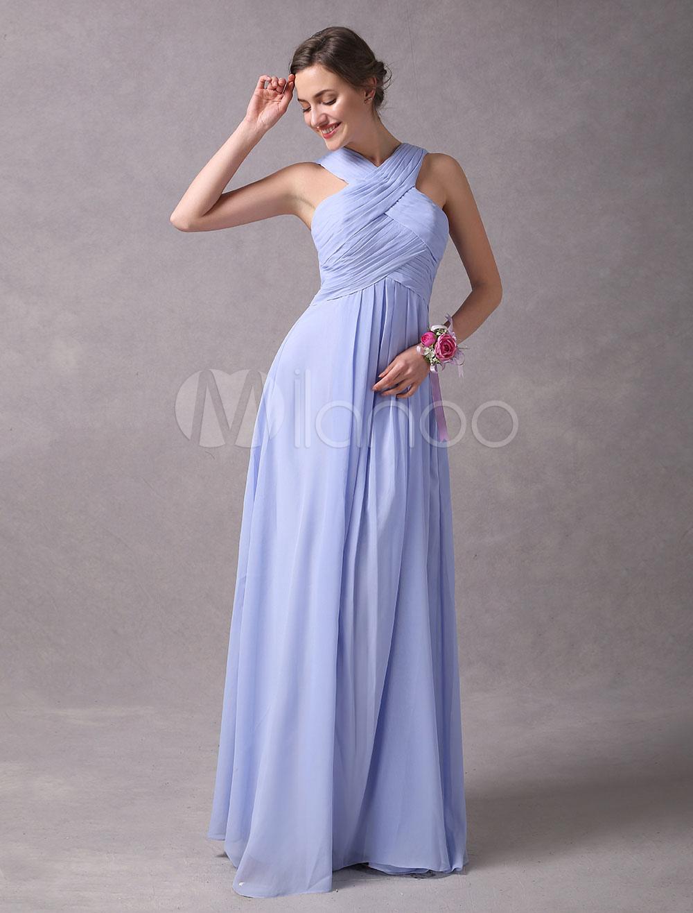 Vestidos de dama de honor violeta Vestido largo de fiesta de boda de ...