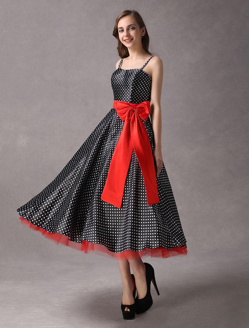 Rockabilly Bridesmaid Dresses Black Polka Dot Printed Vintage Ribbon Bow Sash Straps Tea Length Wedding Party Dress