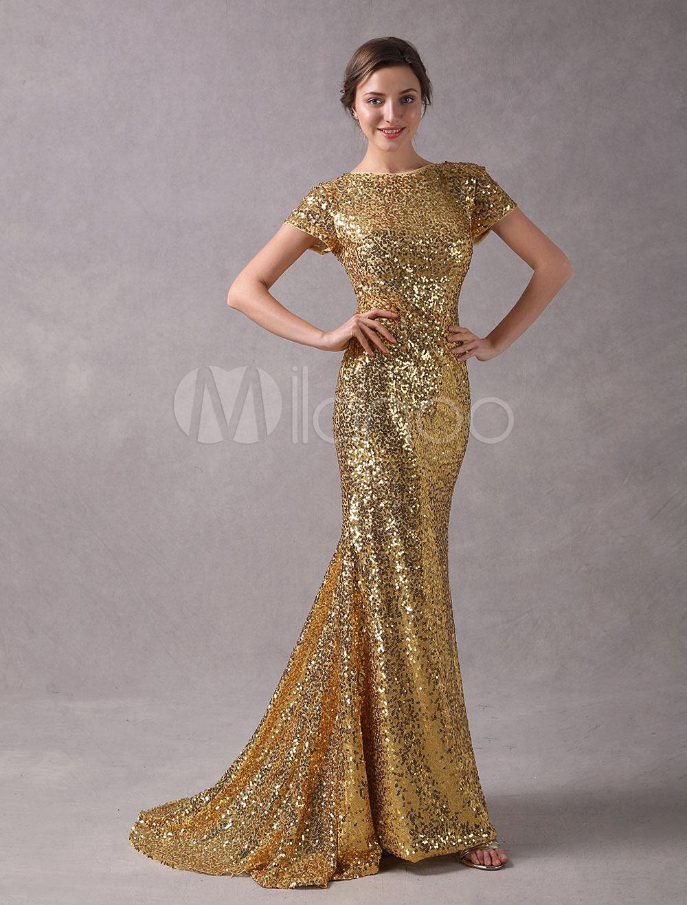 a884a10e7 Sequin party dress with long sleeves, gold sequin evening dress, cheap  sequin dress, long sleeve sparkle dress | Milanoo.com