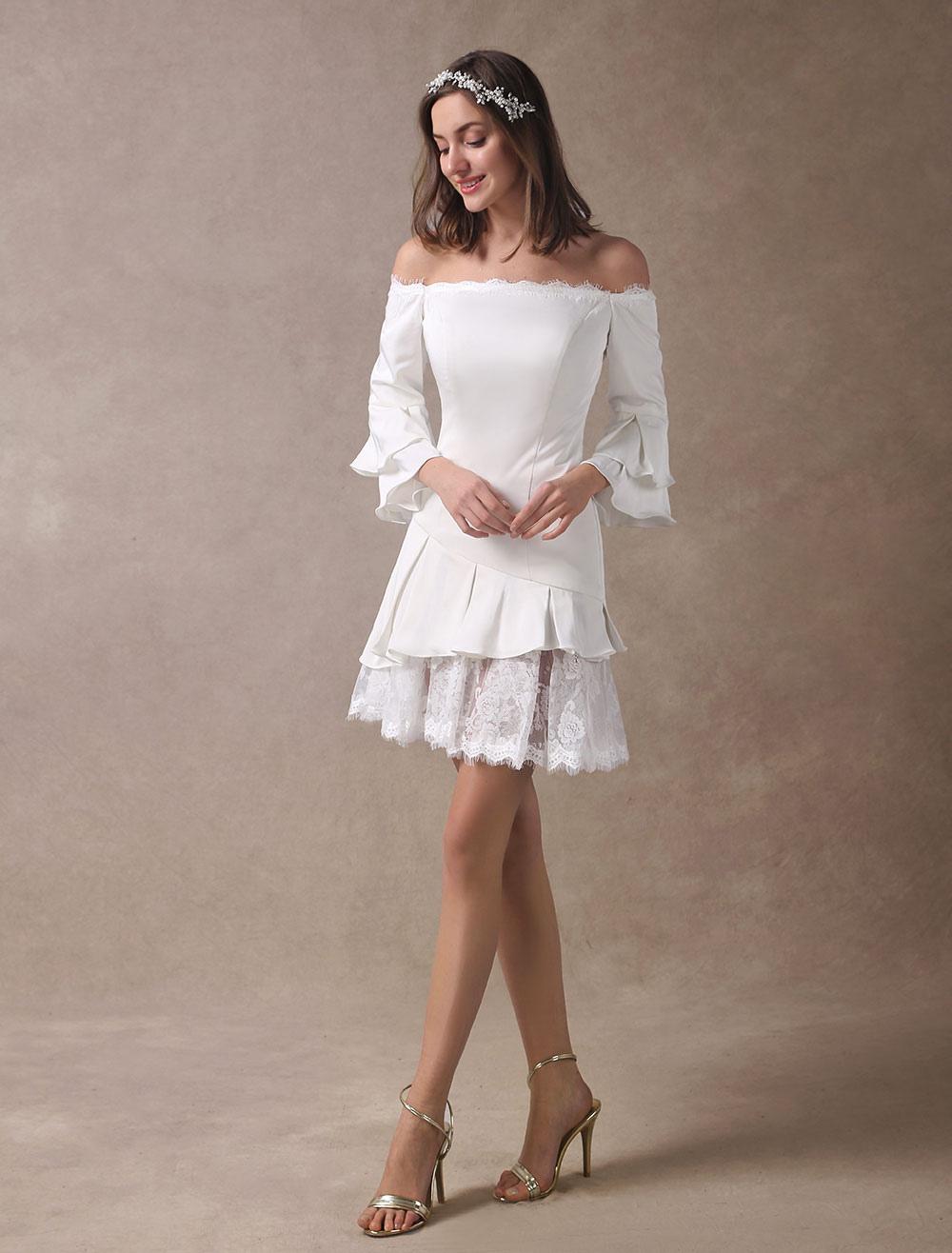 Short Wedding Dresses Boho Off The Shoulder Bridal Dress Mini Long Sleeve Tiered Lace Satin Summer Beach Wedding Dress
