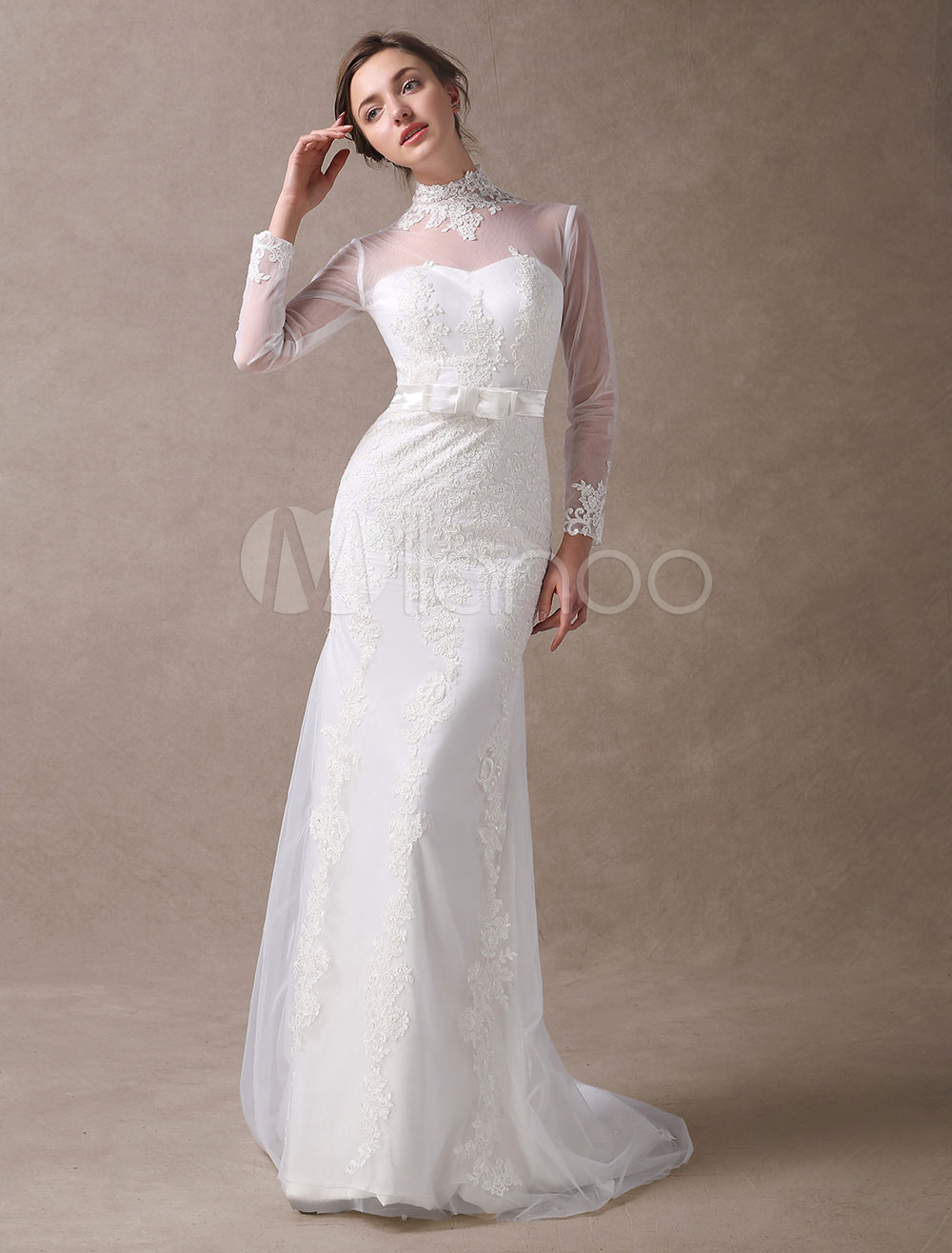Buy Ivory Wedding Dresses Mermaid Lace High Collar Long Sleeve Illusion Sweetheart Neck Bow Sash Wedding Gowns With Train for $161.49 in Milanoo store