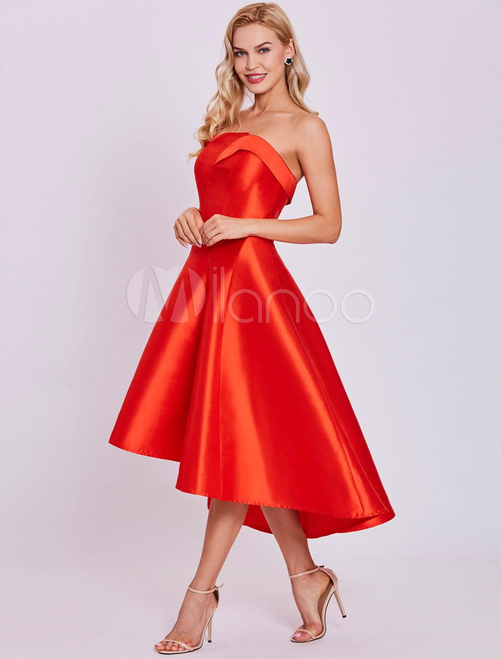 Red Cocktail Dresses Satin High Low Strapless Asymmetrical Short Graduation Dress