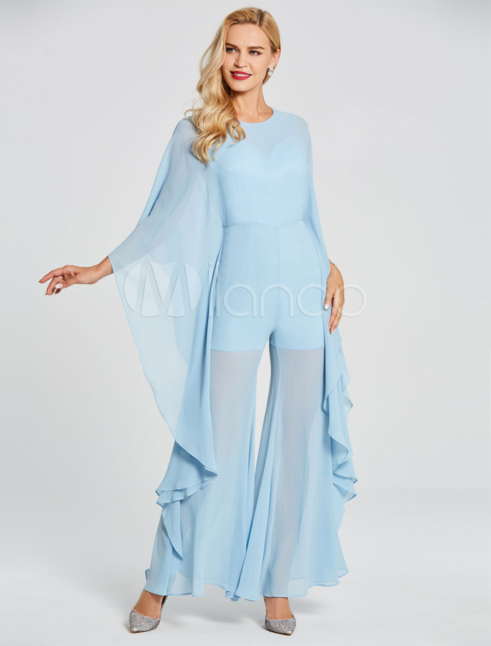 Buy Prom Dresses Jumpsuits Long Chiffon Pastel Blue Cascading Ruffles Long Sleeve Illusion Formal Party Dress for $79.19 in Milanoo store