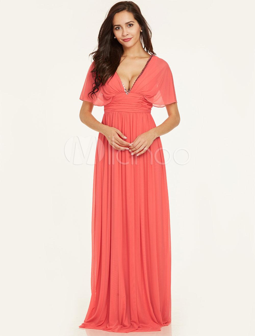 Buy Prom Dresses Long Chiffon V Neck Short Sleeve Beaded Floor Length Formal Party Dresses for $74.79 in Milanoo store