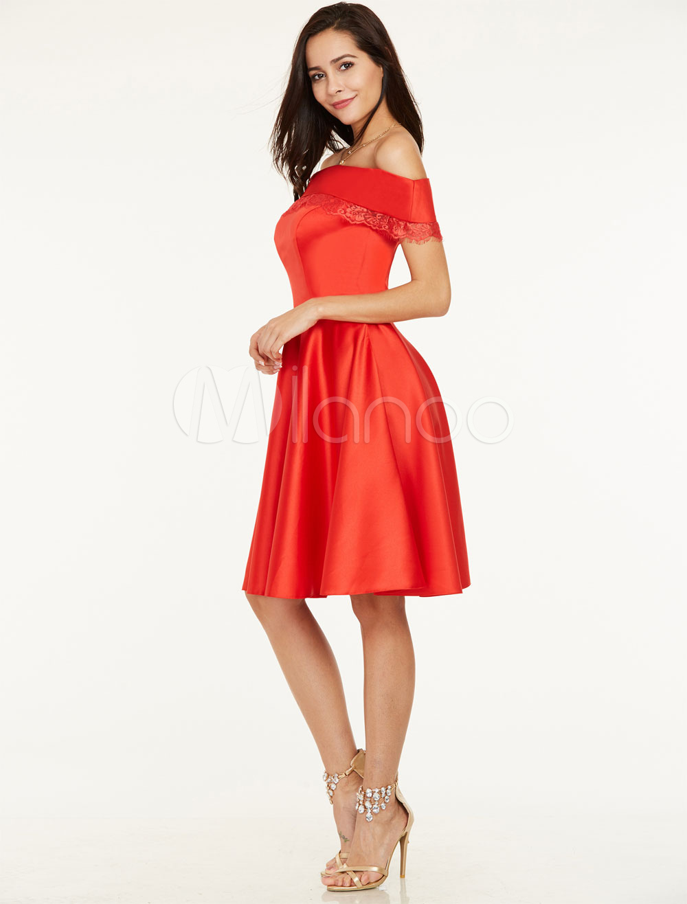 Buy Short Prom Dresses Red Off The Shoulder Cocktail Dress Lace Trim Knee Length Graduation Dresses for $74.79 in Milanoo store
