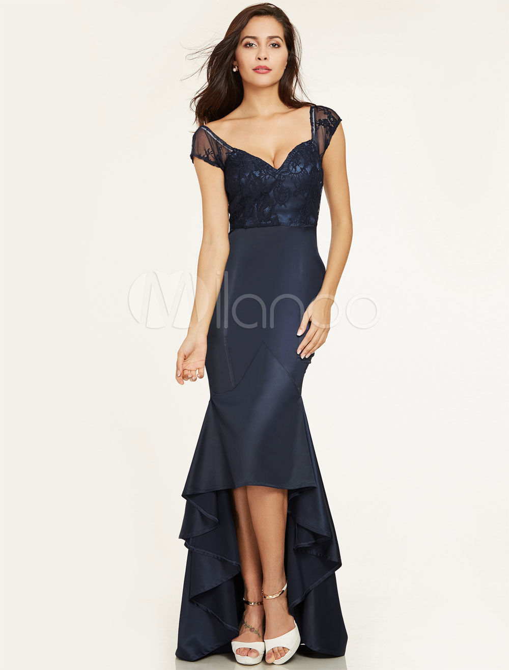 Prom Dresses Mermaid Dark Navy High Low Ruffles Lace Queen Anne Neck Satin Formal Occasion Dress