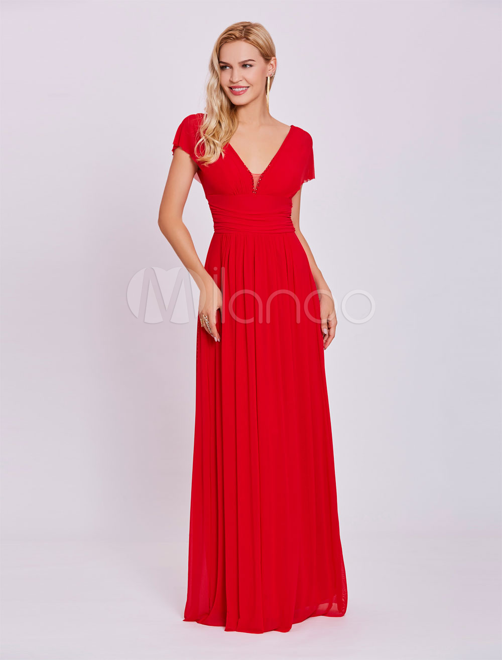 Buy Red Prom Dresses 2018 Long Chiffon V Neck Evening Dress Short Sleeve Floor Length Formal Gowns for $70.39 in Milanoo store