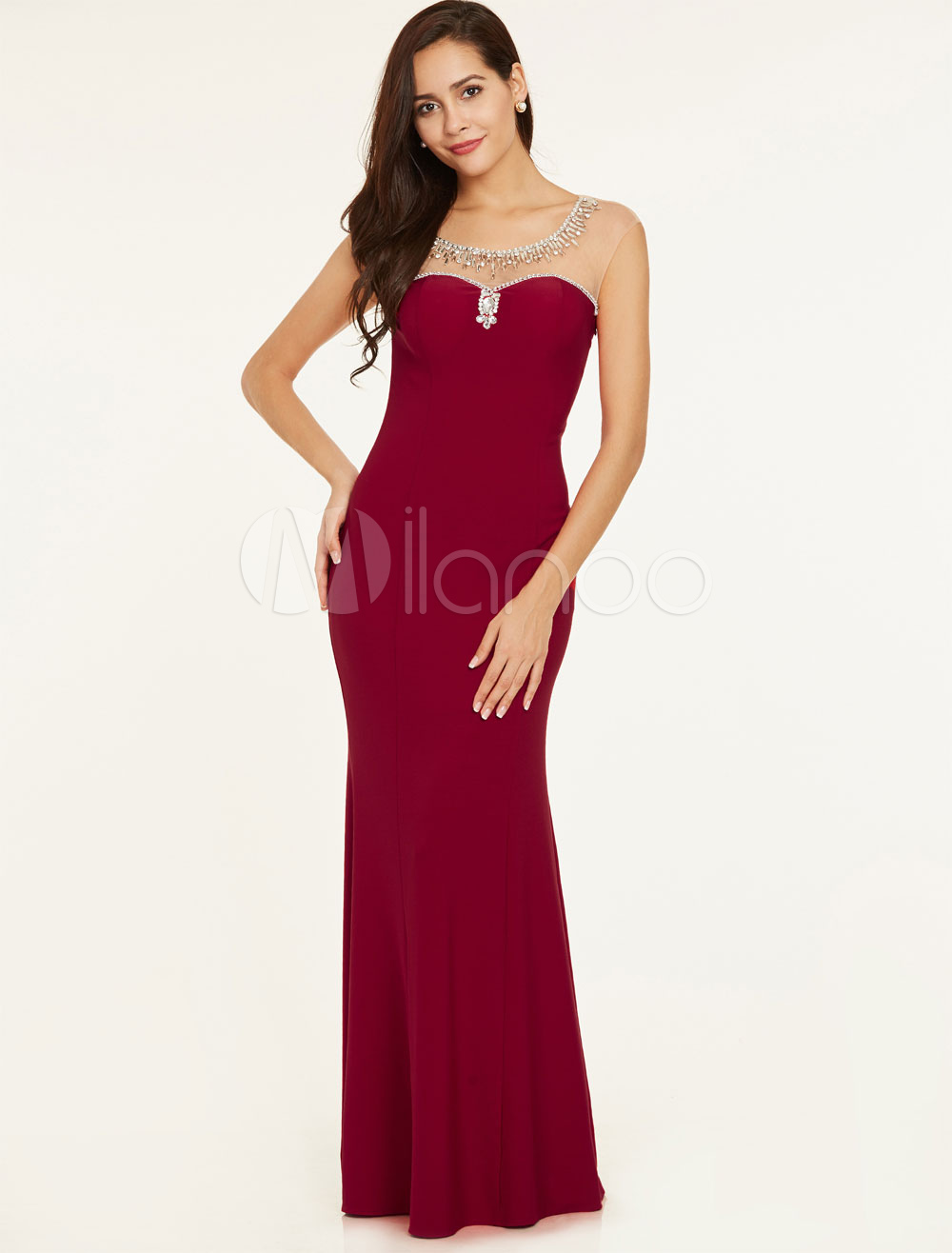 Buy Prom Dresses Long Burgundy Mermaid Backless Evening Gowns Illusion Beading Jewel Neck Floor Length Formal Dress for $87.99 in Milanoo store