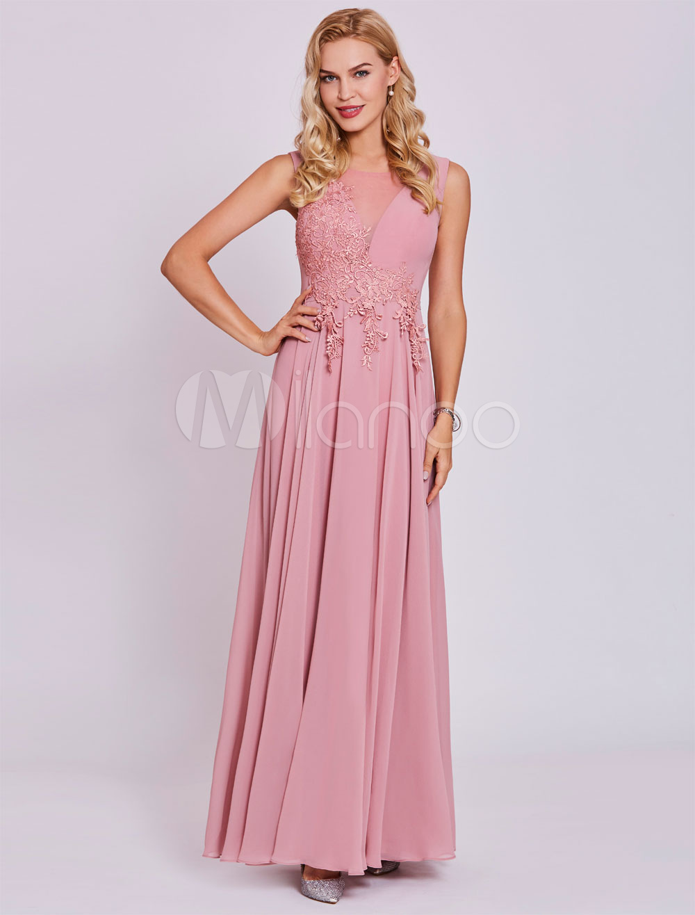 Prom Dresses 2018 Long Lace Applique Chiffon Sleeveless Illusion Cameo Pink Formal Party Dress