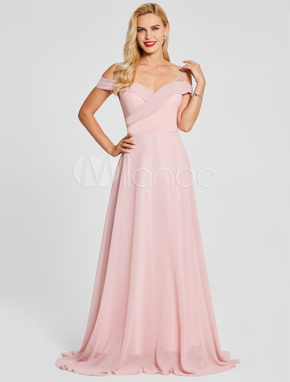 Buy Prom Dresses Long Soft Pink Chiffon Formal Gowns Cold Shoulder Floor Length Special Occasion Dress for $74.79 in Milanoo store