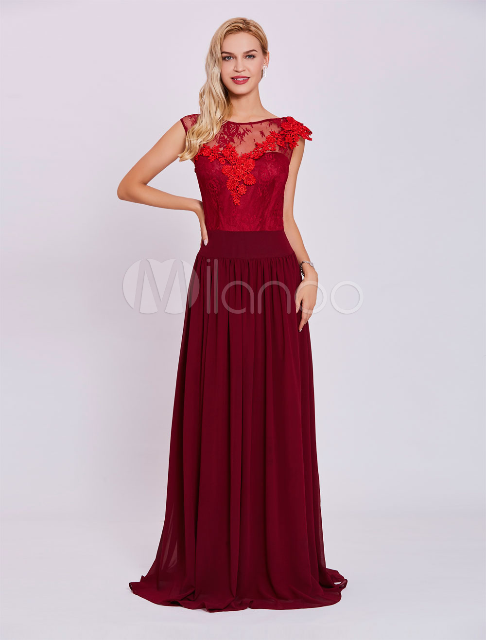 fd9a1ae7e4 Burgundy Evening Dresses Lace Chiffon Mother Dresses V Back Applique ...