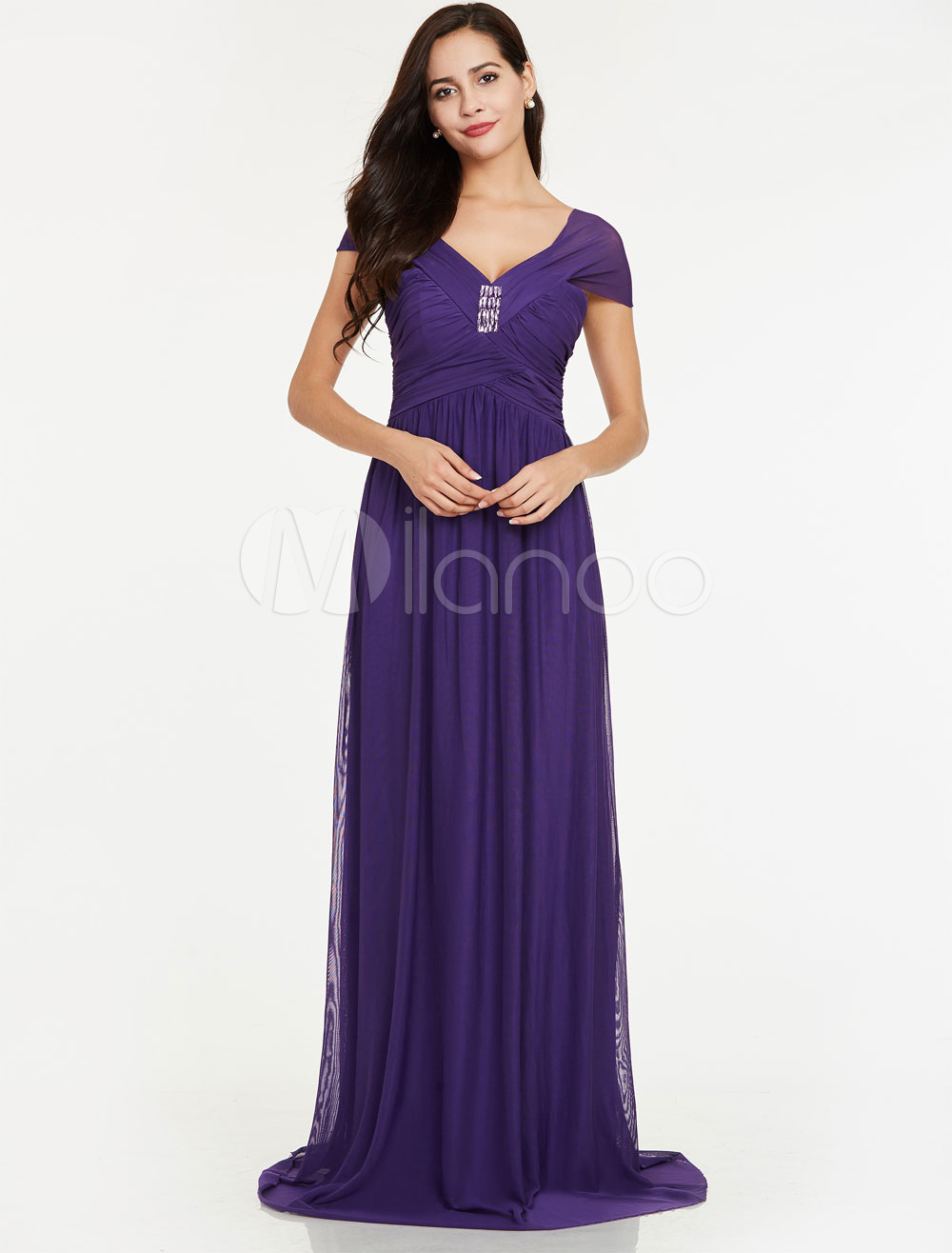 Buy Lavender Bridesmaid Dresses Long Prom Dresses Chiffon Ruched Beading V Neck Floor Length Wedding Party Dress for $74.79 in Milanoo store