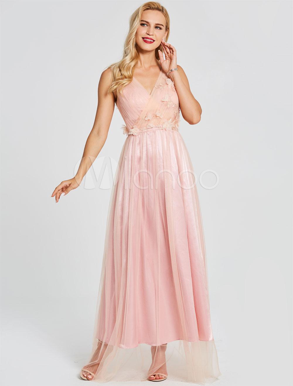 Vestidos de baile largos vestidos de fiesta de color rosa suave con ...
