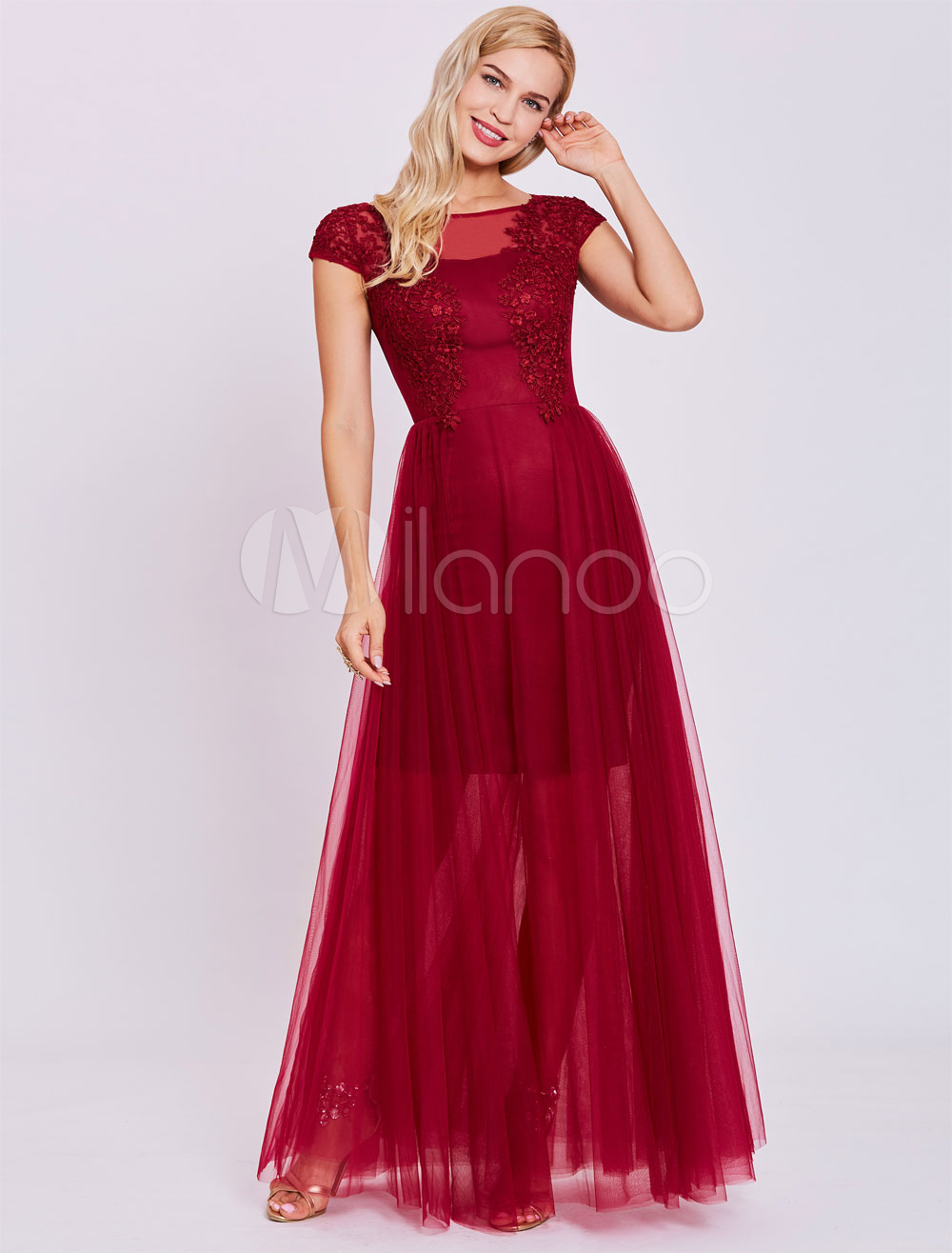 5dcfcdcae72 ... Tulle Formal Gowns Lace Applique Illusion Floor Length Special Occasion  Dress-. 12. 32%OFF. Color Burgundy