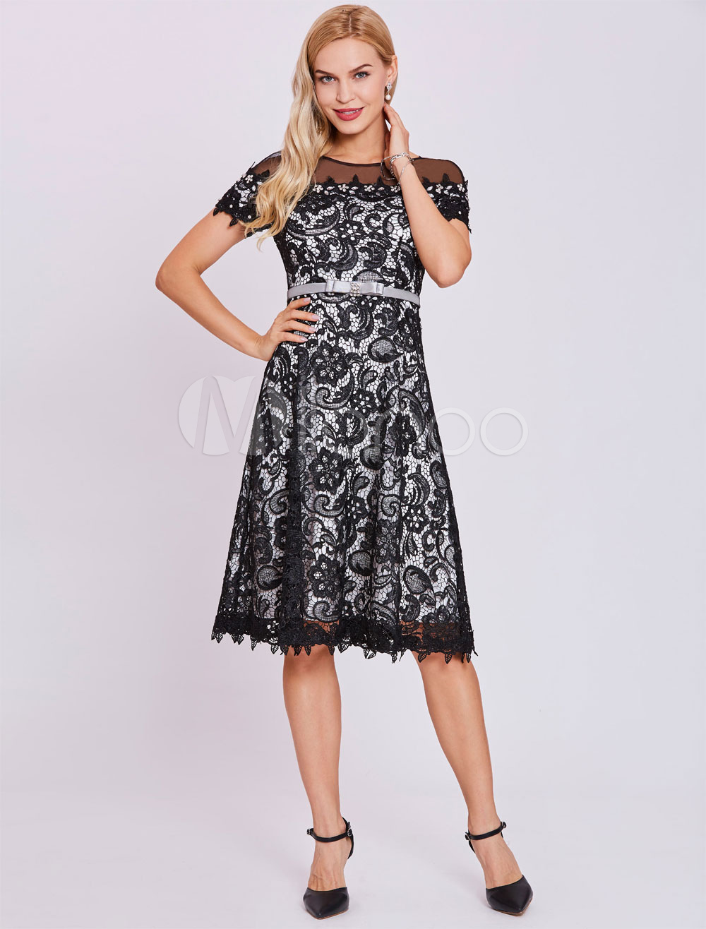 Buy Lace Cocktail Dresses Black Short Sleeve Bow Sash Illusion Knee Length Formal Party Dresses for $83.59 in Milanoo store