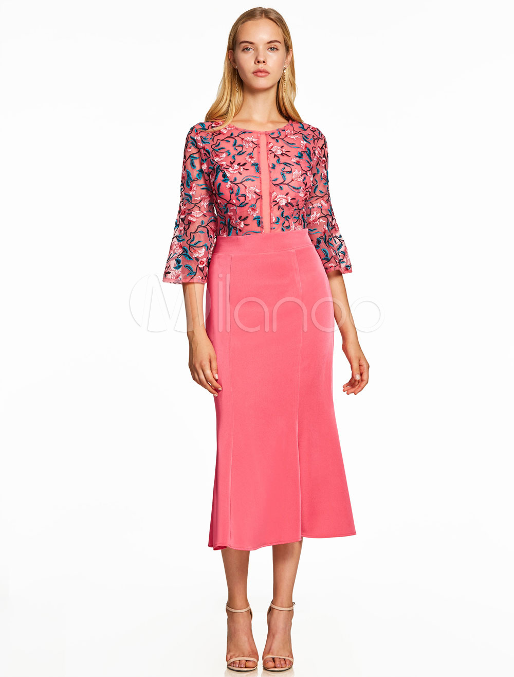 Buy Coral Cocktail Dresses Sheath Lace Satin Long Sleeve Tea Length Round Neck Short Party Dresses for $87.99 in Milanoo store