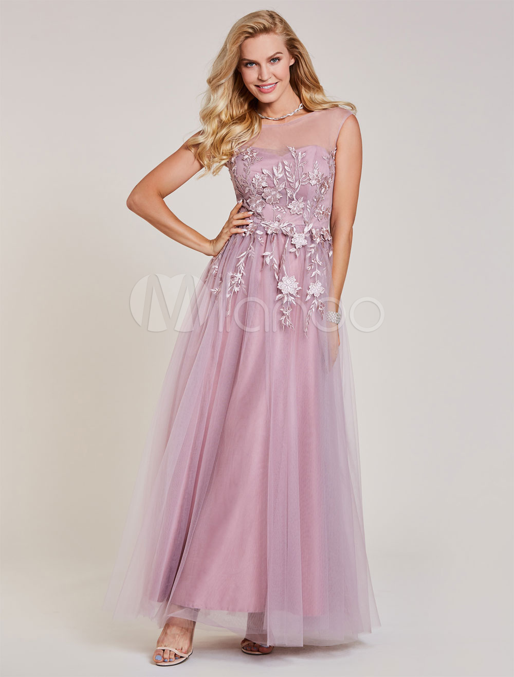 Buy Prom Dresses Long Lace Applique Tulle Cameo Pink Illusion Sleeveless Floor Length Formal Party Dress for $92.39 in Milanoo store