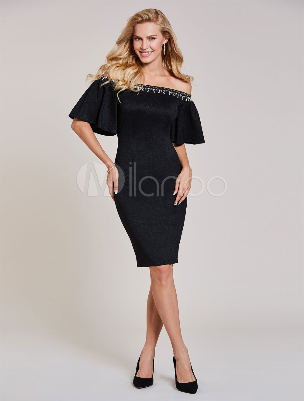 Buy Black Cocktail Dresses Sheath Short Off The Shoulder Half Sleeve Knee Length Party Dress for $74.79 in Milanoo store