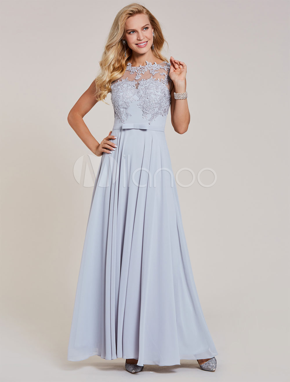 Buy Silver Prom Dresses Long Chiffon Evening Gowns Lace Applique Illusion Floor Length Bow Sash Formal Occasion Dress for $83.59 in Milanoo store