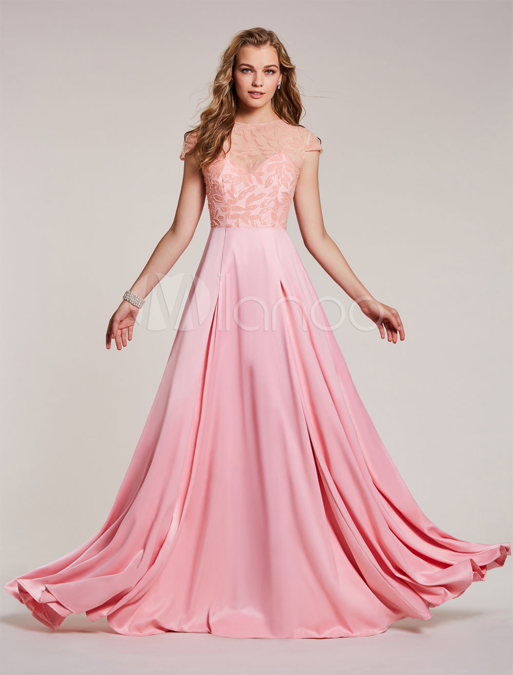 Prom Dresses Long Soft Pink Satin Cap Sleeve Beading Floor Length Formal Gowns