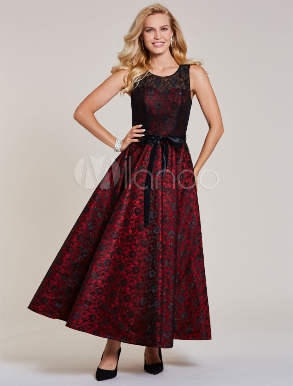 Buy Lace Cocktail Dresses Burgundy Sleeveless Ribbon Bow Sash Ankle Length Formal Party Dress for $92.39 in Milanoo store