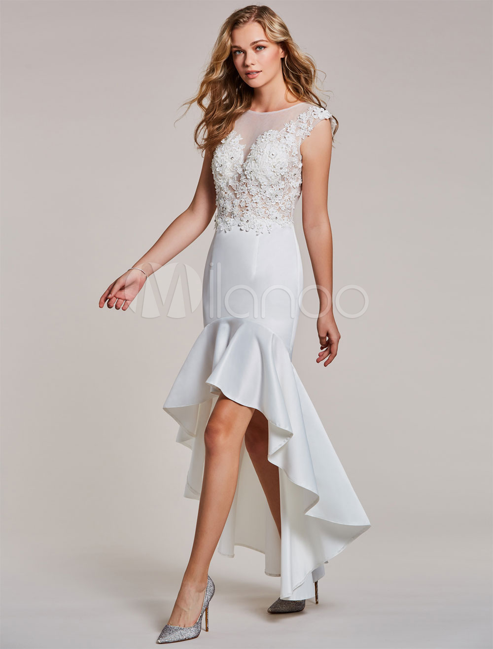 Buy White Cocktail Dresses Mermaid High Low Short Prom Dress Lace Beaded Asymmetrical Party Dresses for $87.99 in Milanoo store