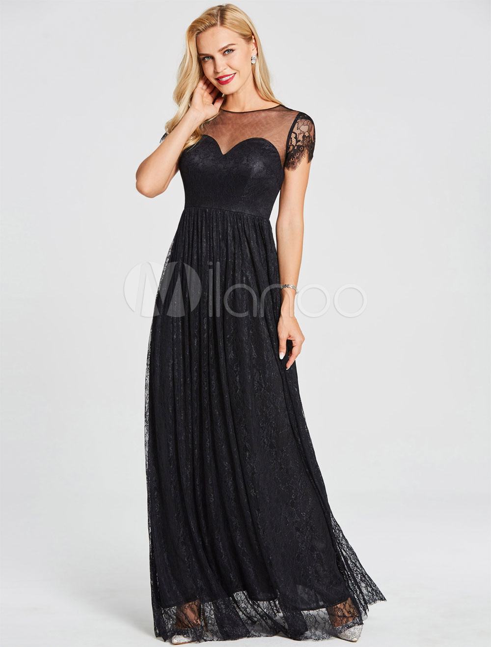 Buy Black Prom Dresses Long Lace Evening Gowns Keyhole Illusion Sweetheart Floor Length Formal Party Dress for $83.59 in Milanoo store