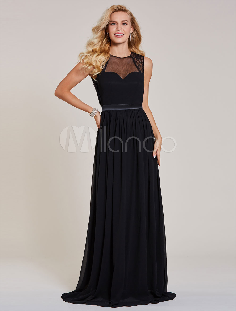 Buy Black Prom Dresses Chiffon Evening Gowns Keyhole Backless Sash Floor Length Formal Dress for $74.79 in Milanoo store