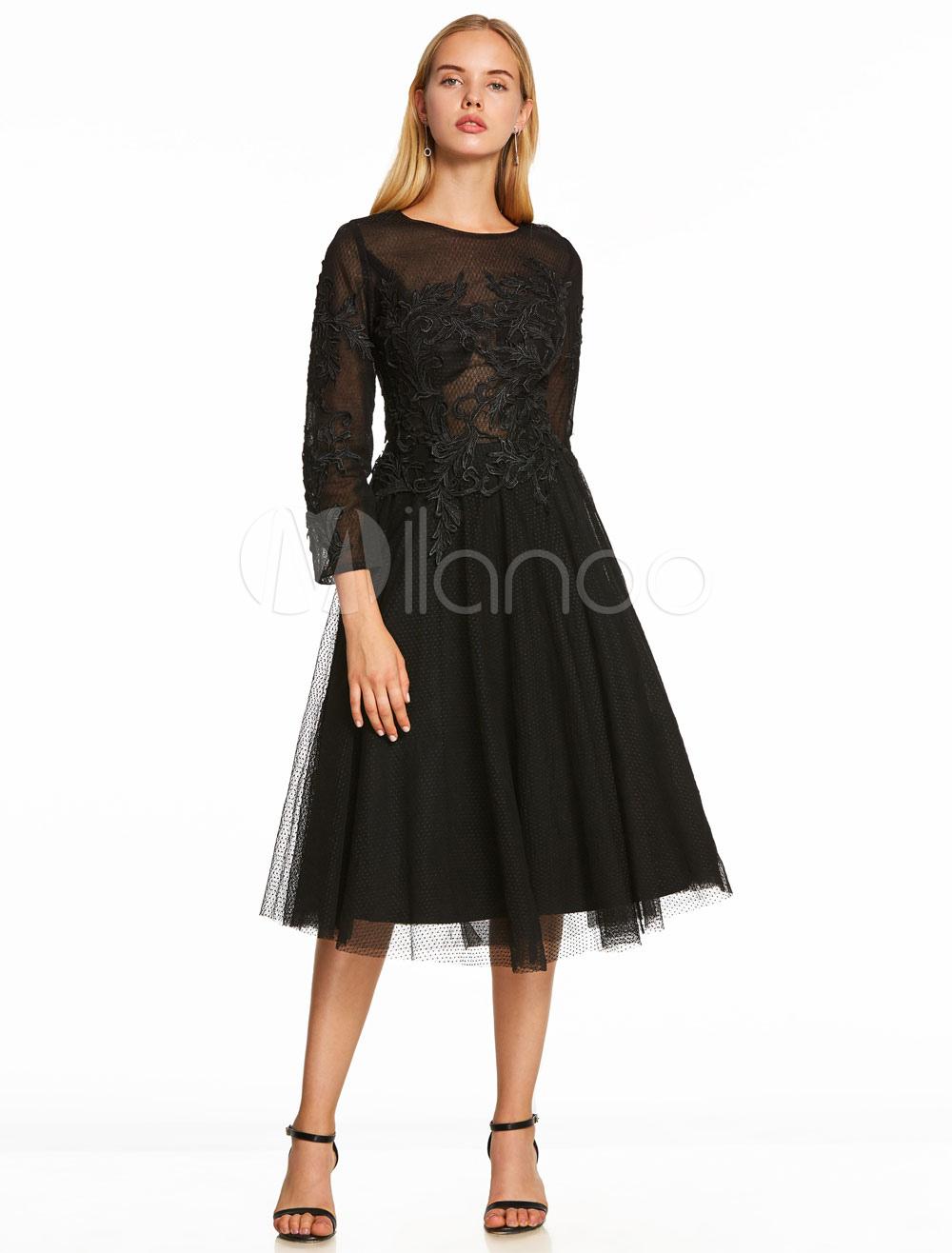 Buy Little Black Dresses Lace Long Sleeve Black Cocktail Dress Lace Applique Illusion Short Party Dress for $87.99 in Milanoo store