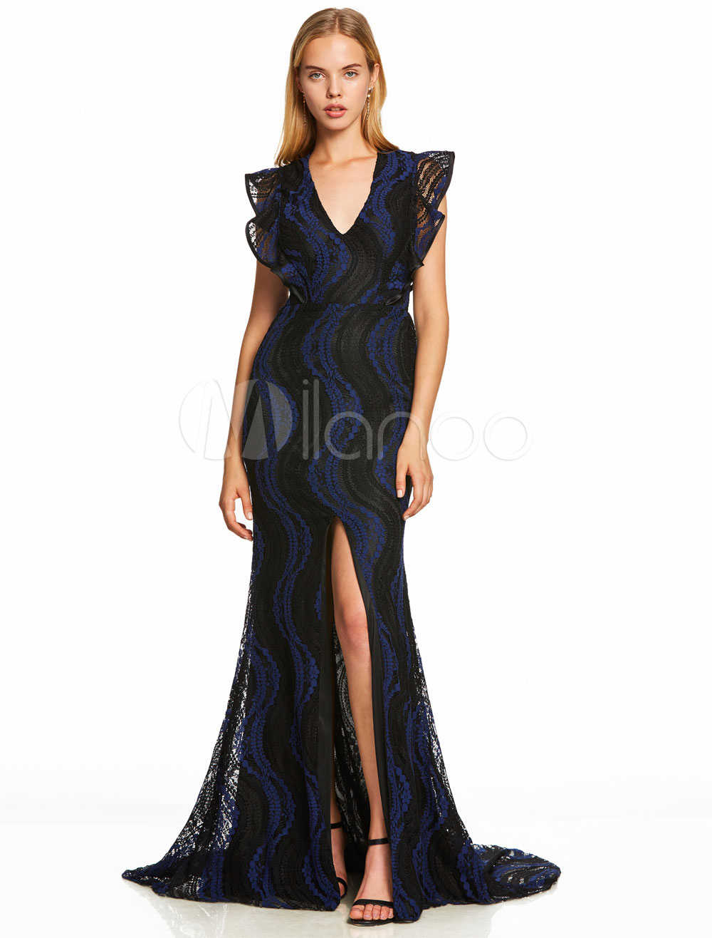 Evening Dresses Royal Blue Lace Sexy Split Long Prom Dress V Neck Ruffles Formal Gowns With Train
