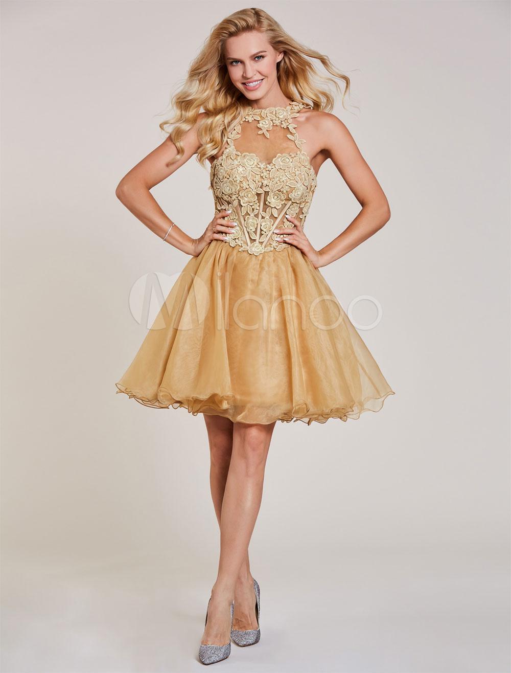 Short Prom Dresses Lace Tutu Graduation Dress Halter Light Gold ...