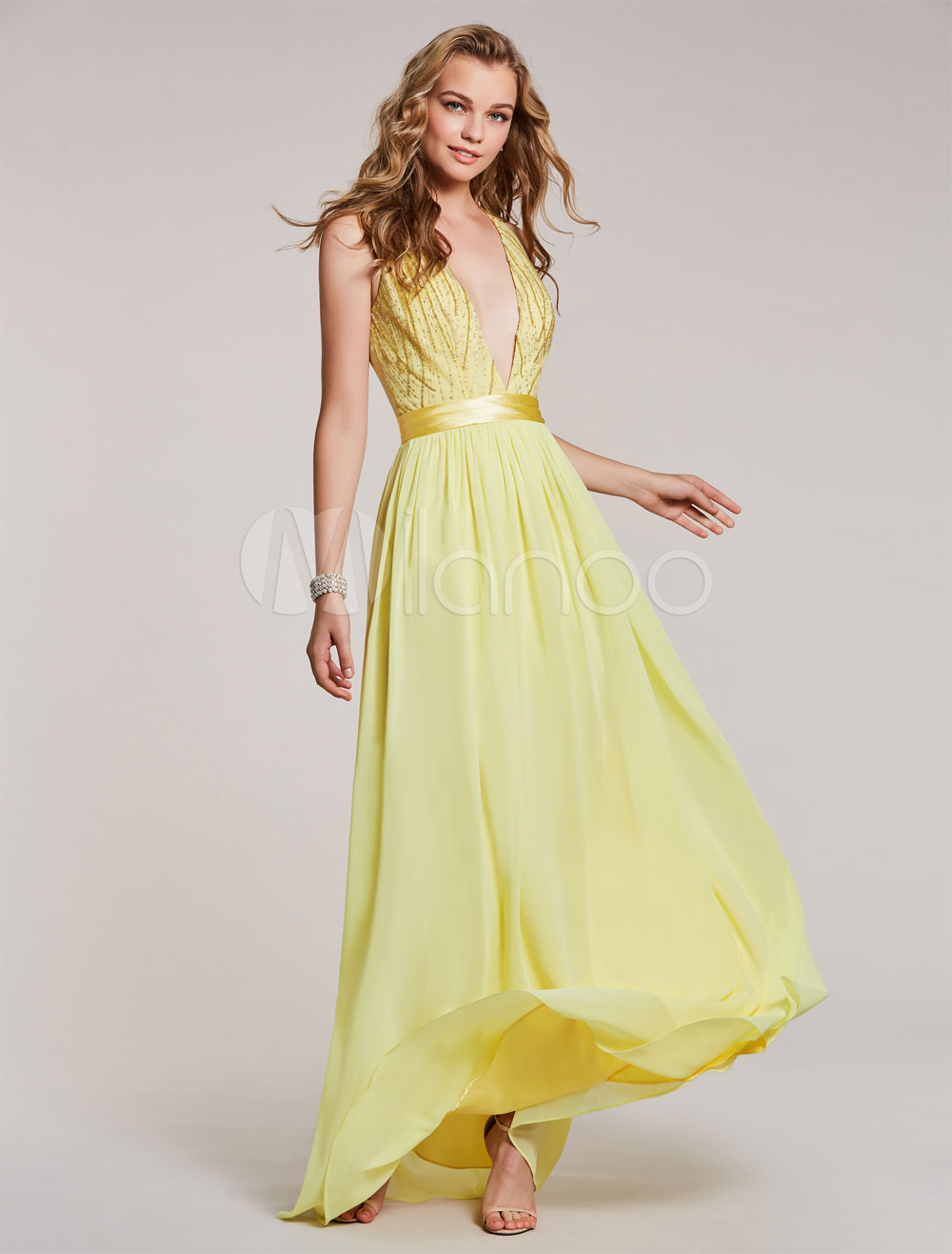 Buy Daffodil Prom Dresses Plunging V Neck Chiffon Long Floor Length Illusion Embroidered Sash Pleated Formal Party Dress for $83.59 in Milanoo store