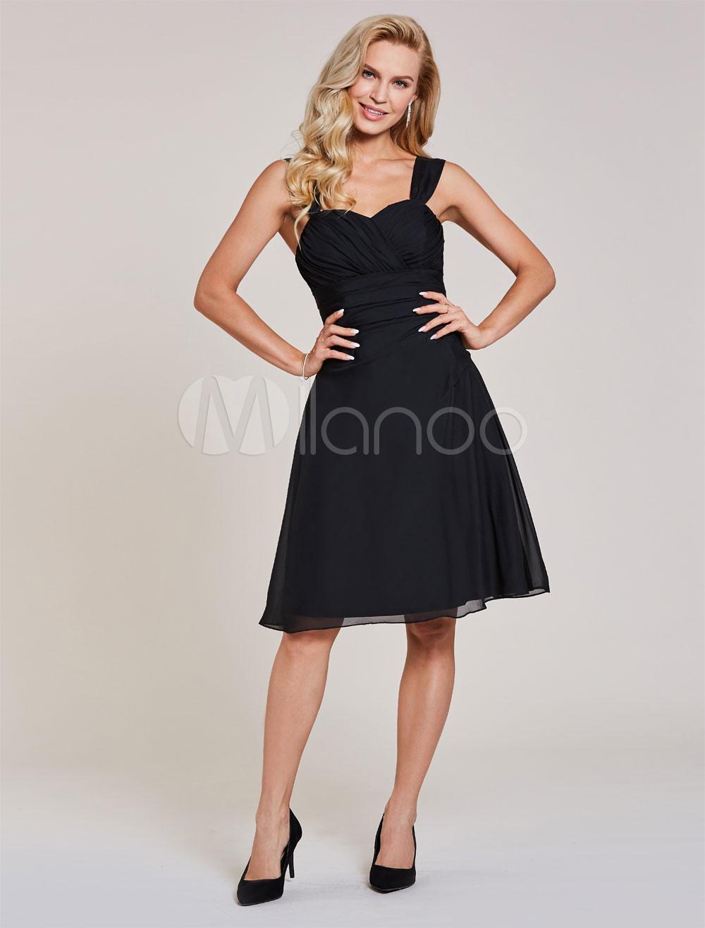 Little Black Dresses Straps Pleated Short Cocktail Dress Chiffon Knee Length Graduation Dress
