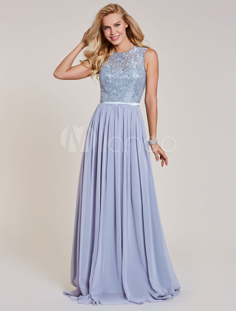 Buy Long Prom Dresses Lace Chiffon Sleeveless Illusion Sash Floor Length Formal Gowns for $79.19 in Milanoo store