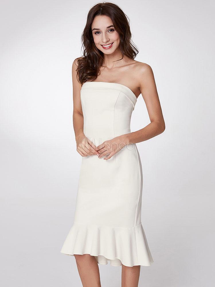986e51da74c Свадебные платья для гостей Белые платья без бретелек Русалка для коктейлей  Платья для вечеринок-No ...