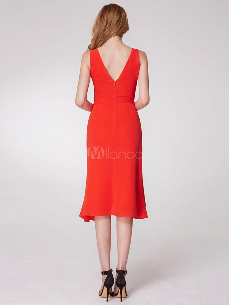 kurze ballkleider orange rot v-ausschnitt ärmellose