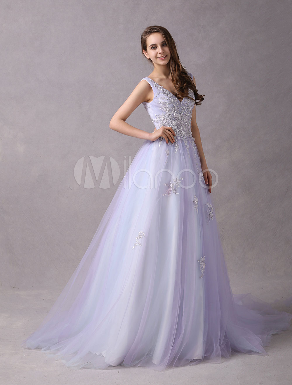 Prom Dresses Long Lilac Lace Applique V Neck Backless Beading Princess Prom Gown With Train